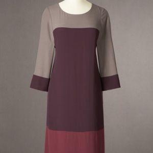 Boden Long Sleeve Purple Color Block Dress Sz 8R
